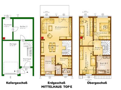 Grundrisse TOP E (Mittelhaus)