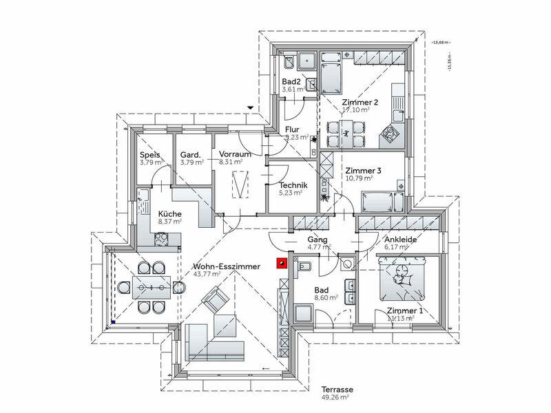 Grundriss Bungalow VARIO-HAUS S141 mit Einliegerwohnung