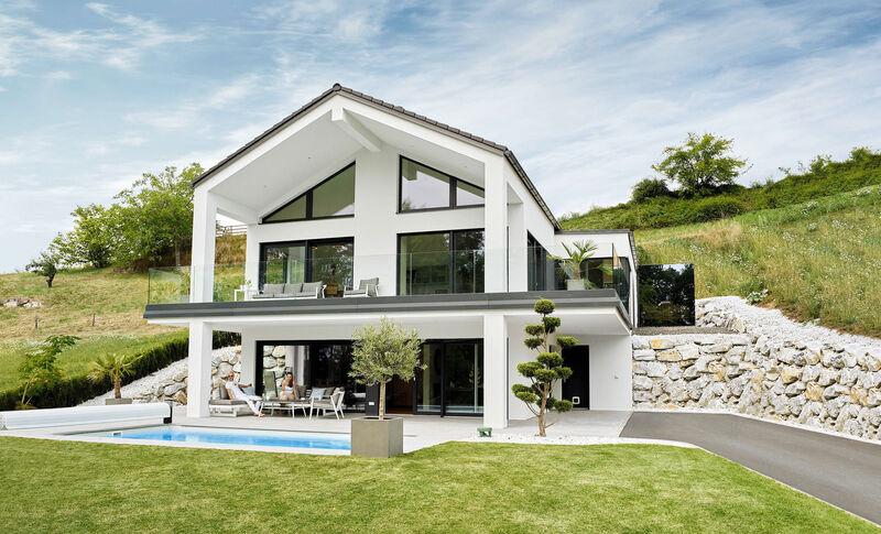 Fertighaus mit Terrasse: VARIO-HAUS Sunrise aus der Linie New Design